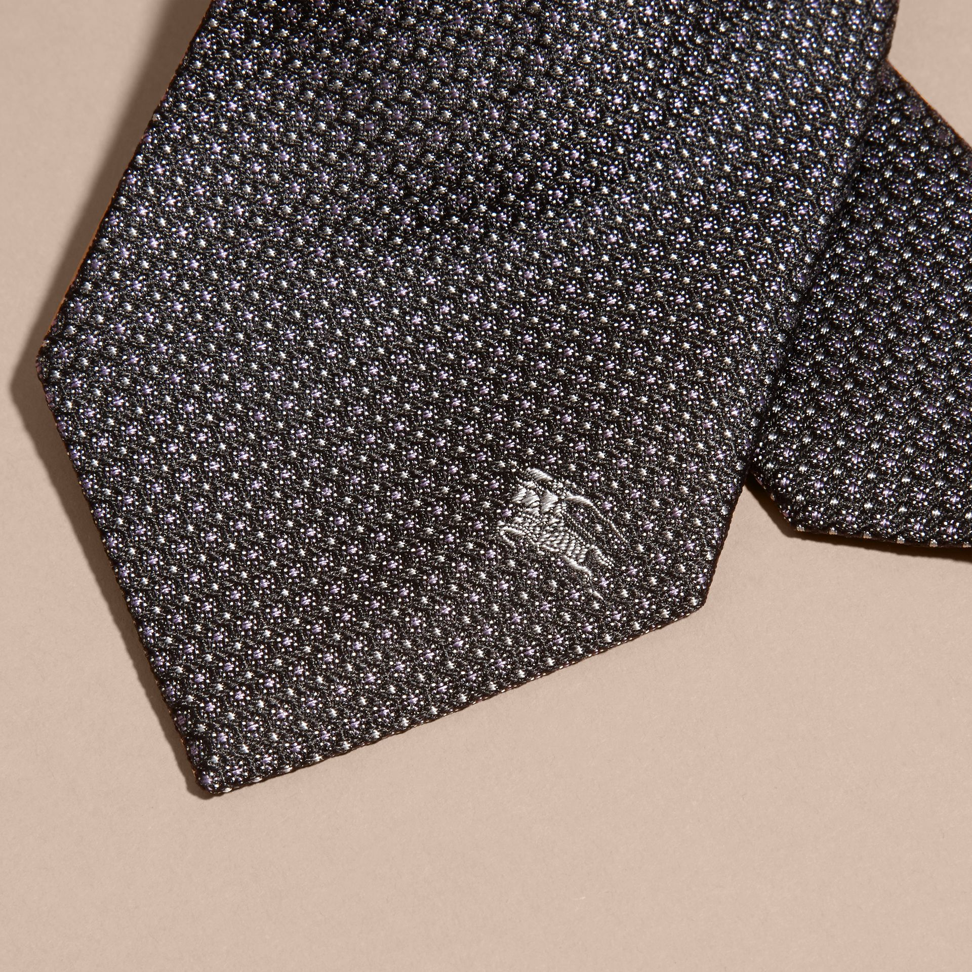 Black Modern Cut Patterned Silk Tie Black - gallery image 2