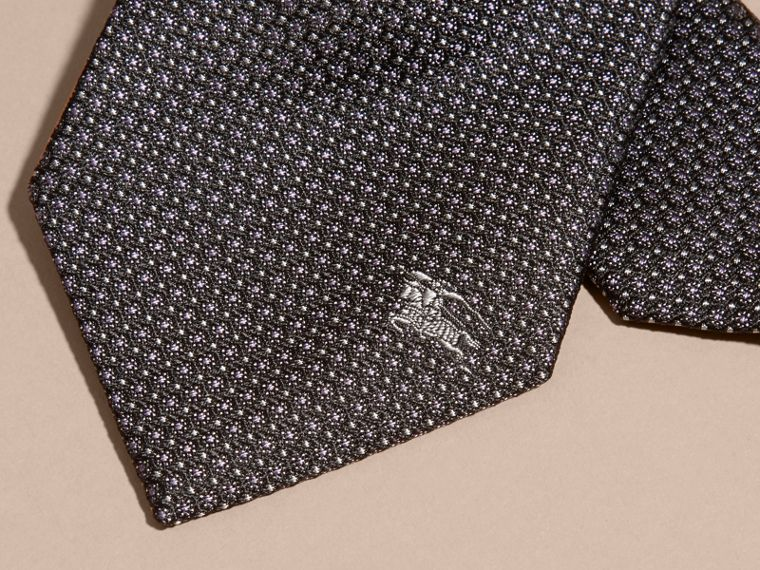 Black Modern Cut Patterned Silk Tie Black - cell image 1