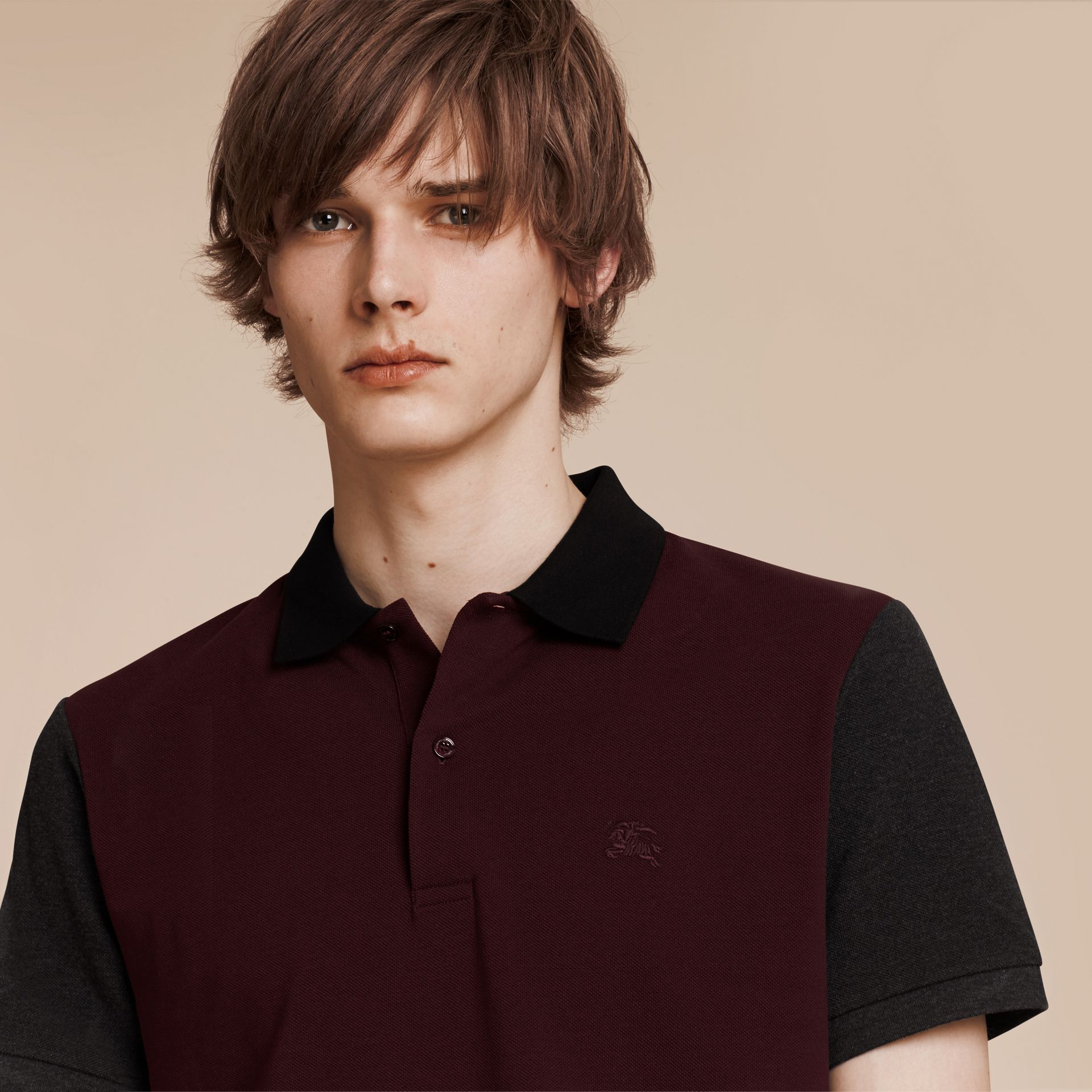 Deep claret Colour-block Cotton Piqué Polo Shirt Deep Claret - gallery image 1