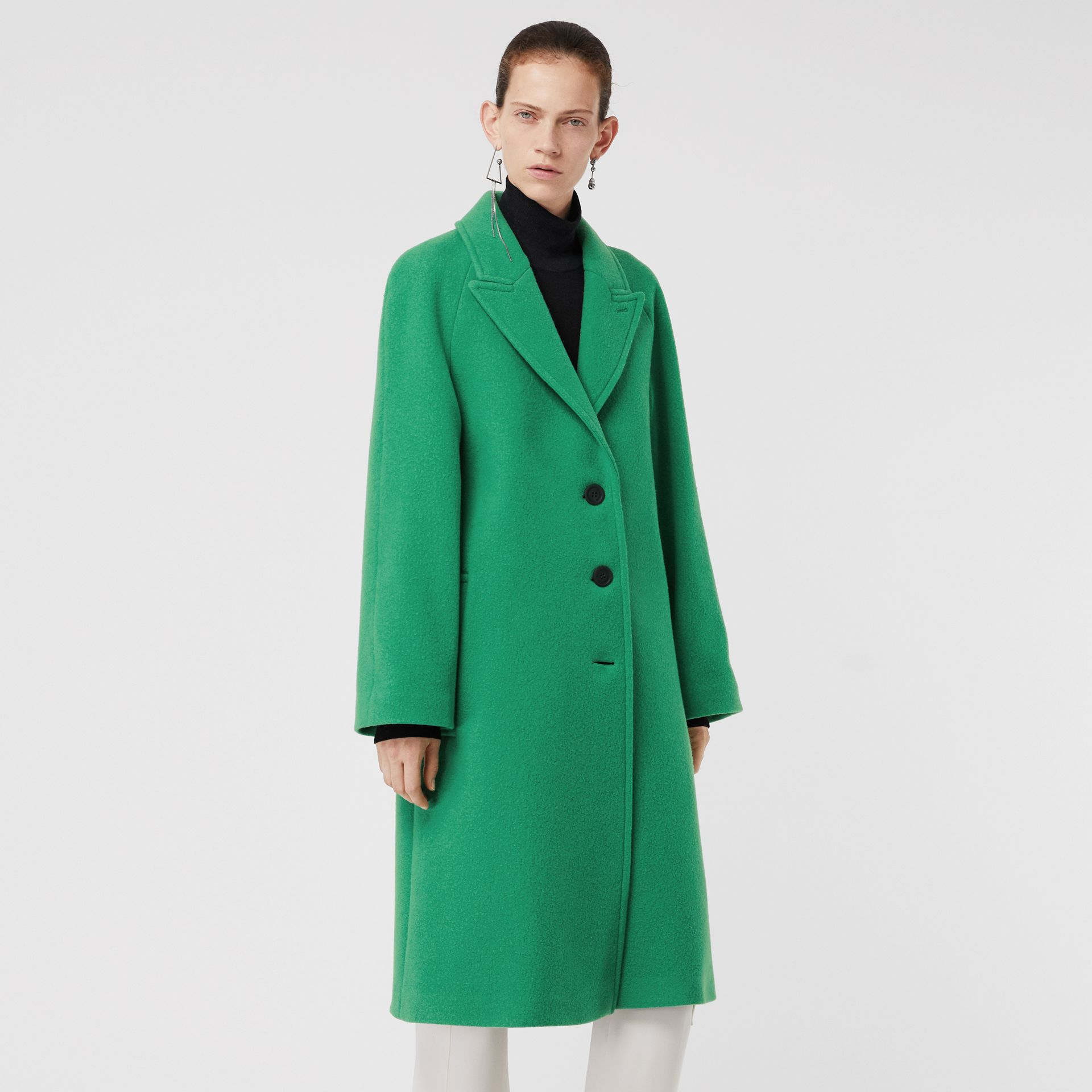 Wool Blend Tailored Coat in Bright Green - Women | Burberry United Kingdom - gallery image 5