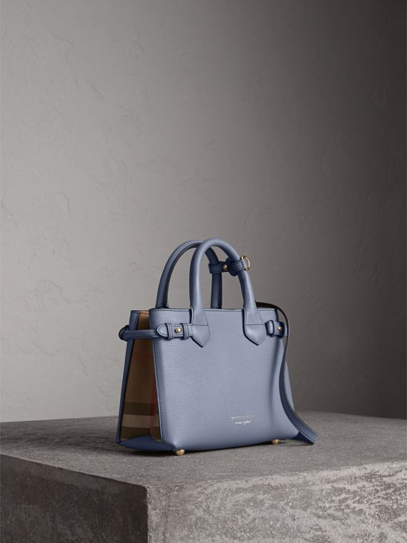 The Small Banner in Leather and House Check in Slate Blue - Women | Burberry Australia