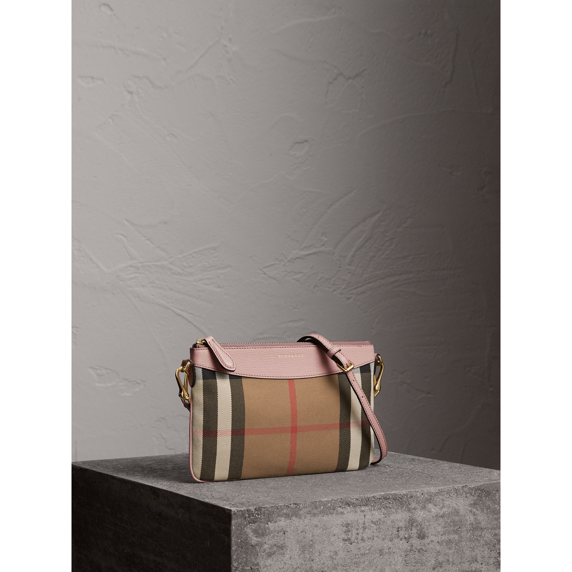 House Check and Leather Clutch Bag in Pale Orchid - Women | Burberry - gallery image 5