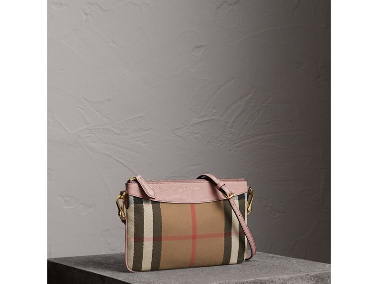 House Check and Leather Clutch Bag in Pale Orchid - Women | Burberry Hong Kong - cell image 4