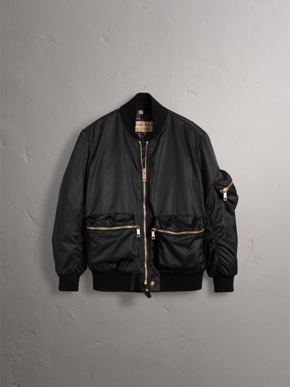 Showerproof Bomber Jacket with Detachable Warmer in Black - Women | Burberry - cell image 3