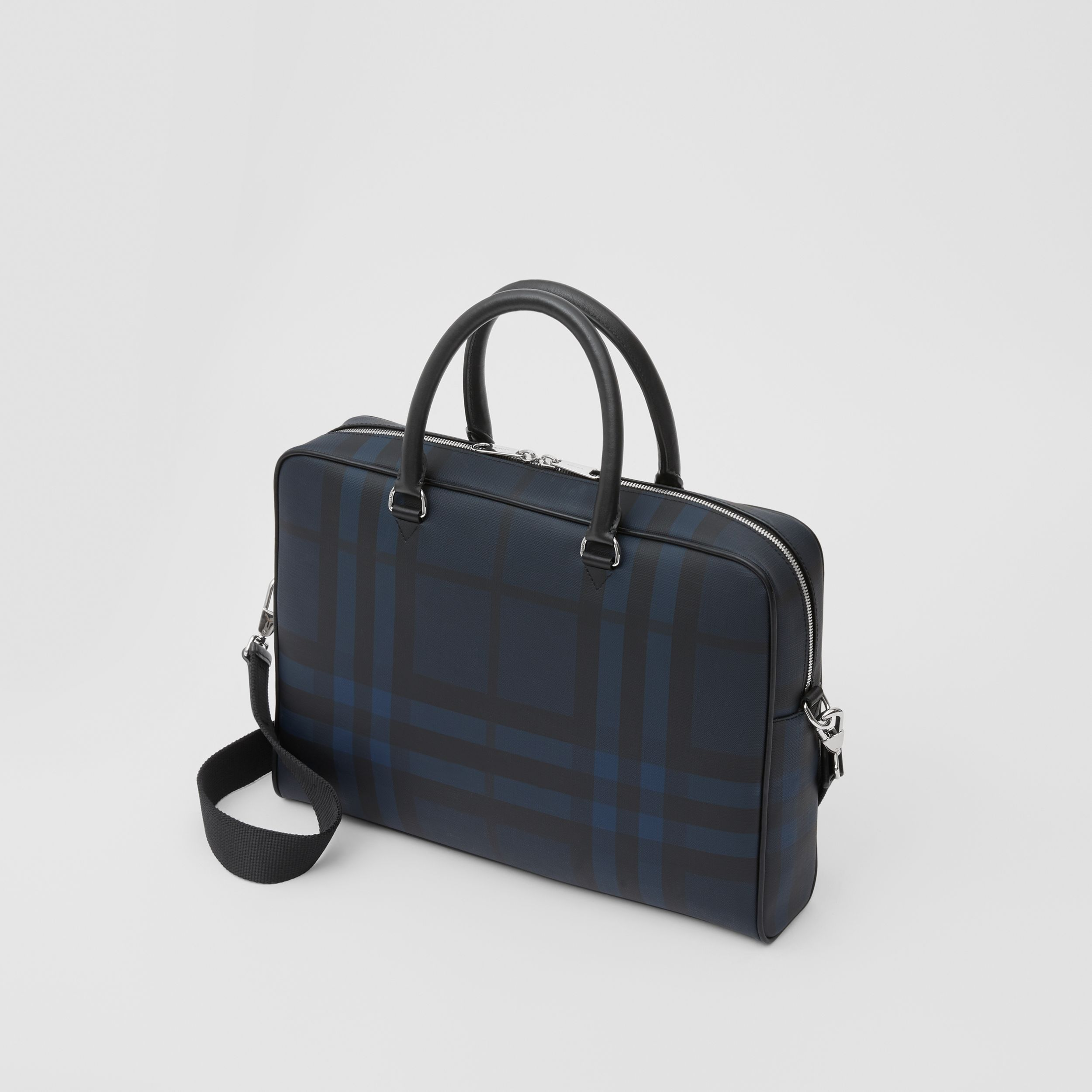 London Check and Leather Briefcase in Navy - Men | Burberry - 4