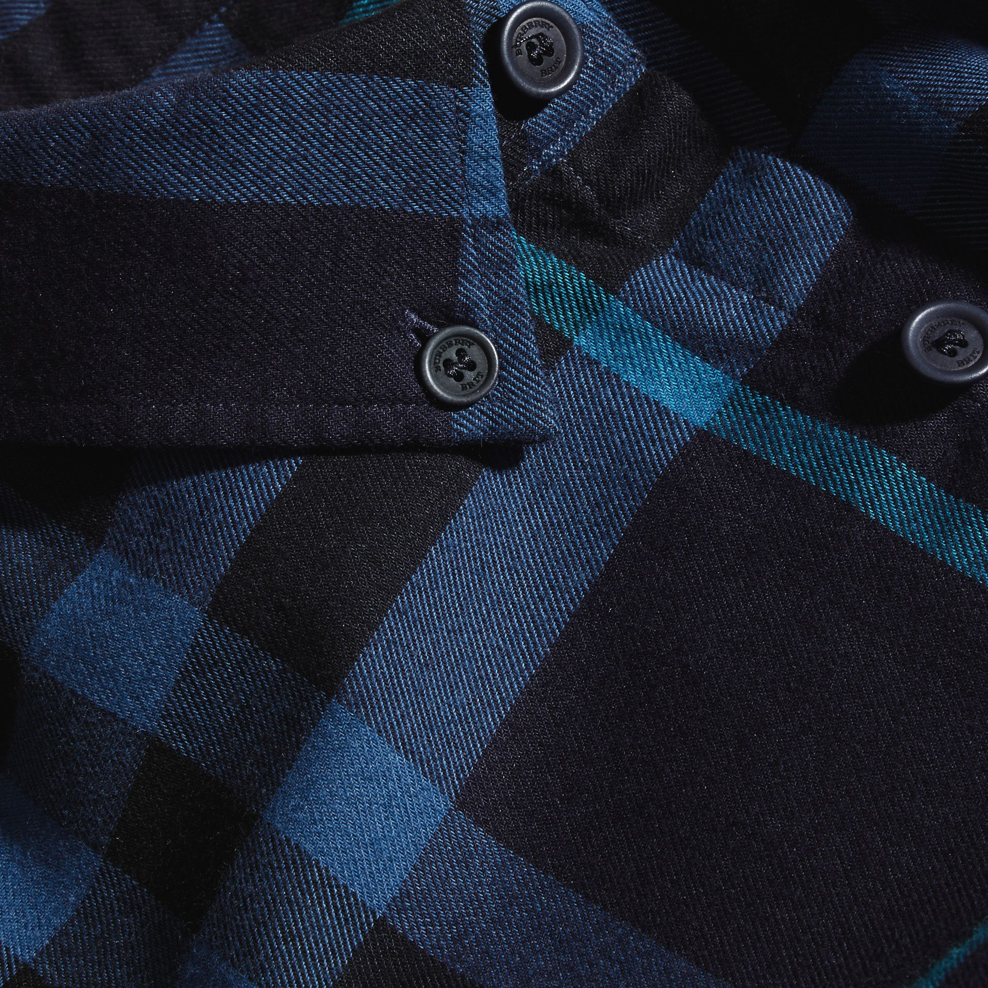 Bright navy Check Cotton Flannel Shirt Bright Navy - gallery image 2