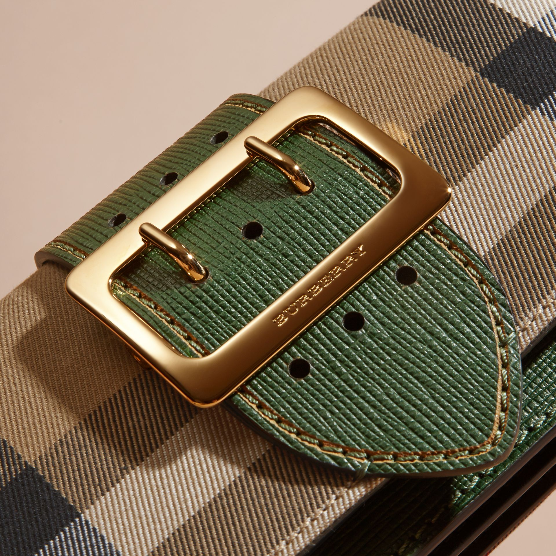 The Small Buckle Bag in House Check and Leather in Kelly Green/kelly Green - Women | Burberry Canada - gallery image 1
