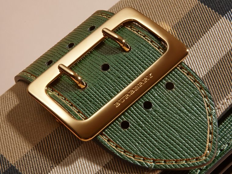 The Small Buckle Bag in House Check and Leather in Kelly Green/kelly Green - Women | Burberry Canada - cell image 1