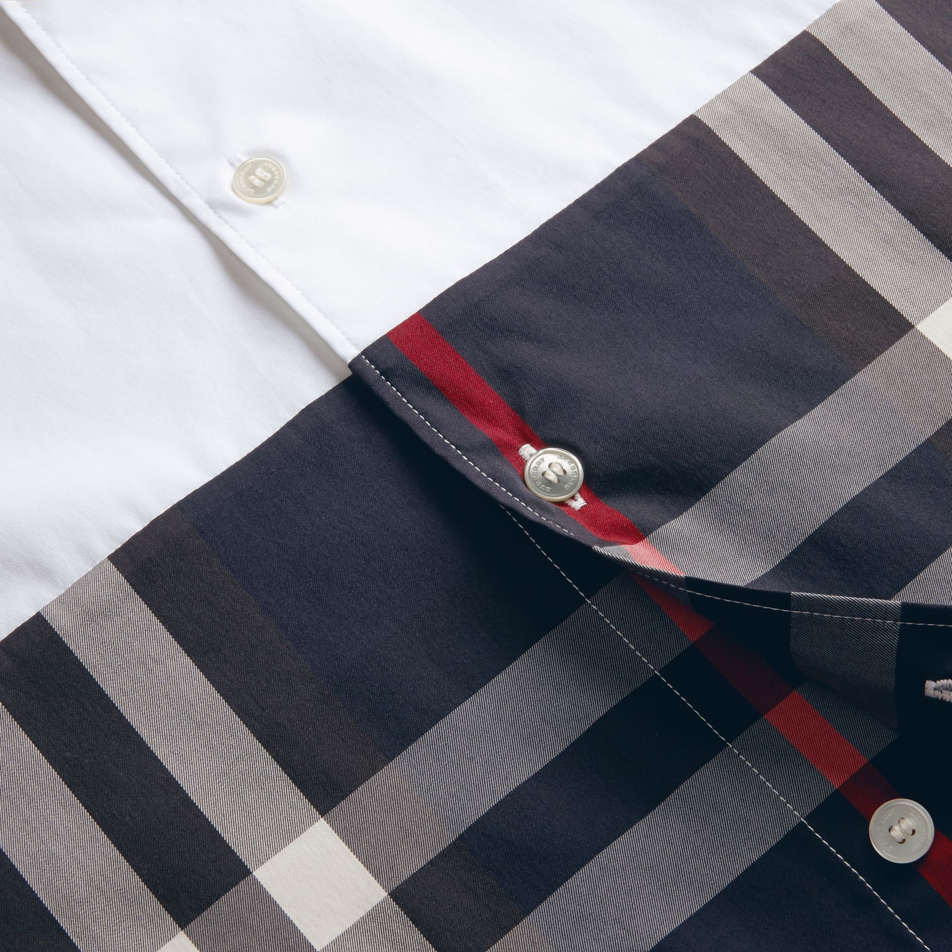 White Check Panel Stretch-Cotton Poplin Shirt White - gallery image 2