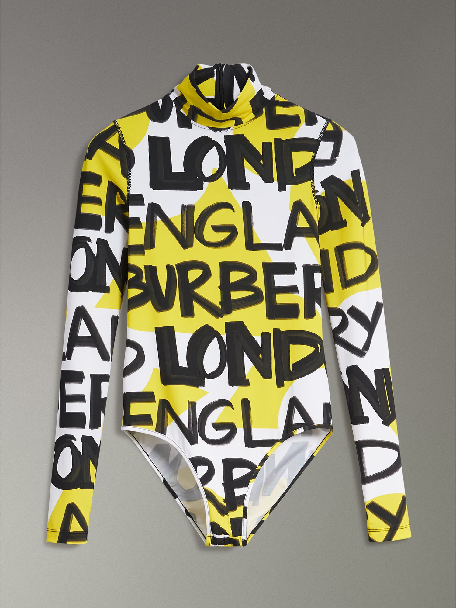 Graffiti Print Stretch Jersey Bodysuit in Bright Yellow