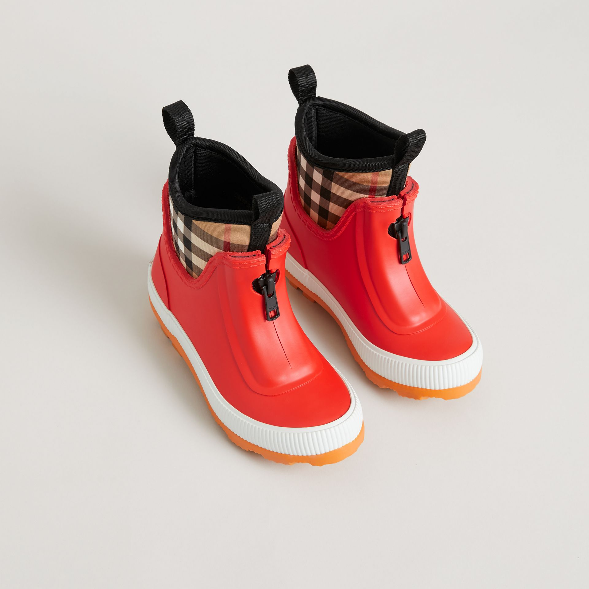 Vintage Check Neoprene and Rubber Rain Boots in Bright Red | Burberry Canada - gallery image 0