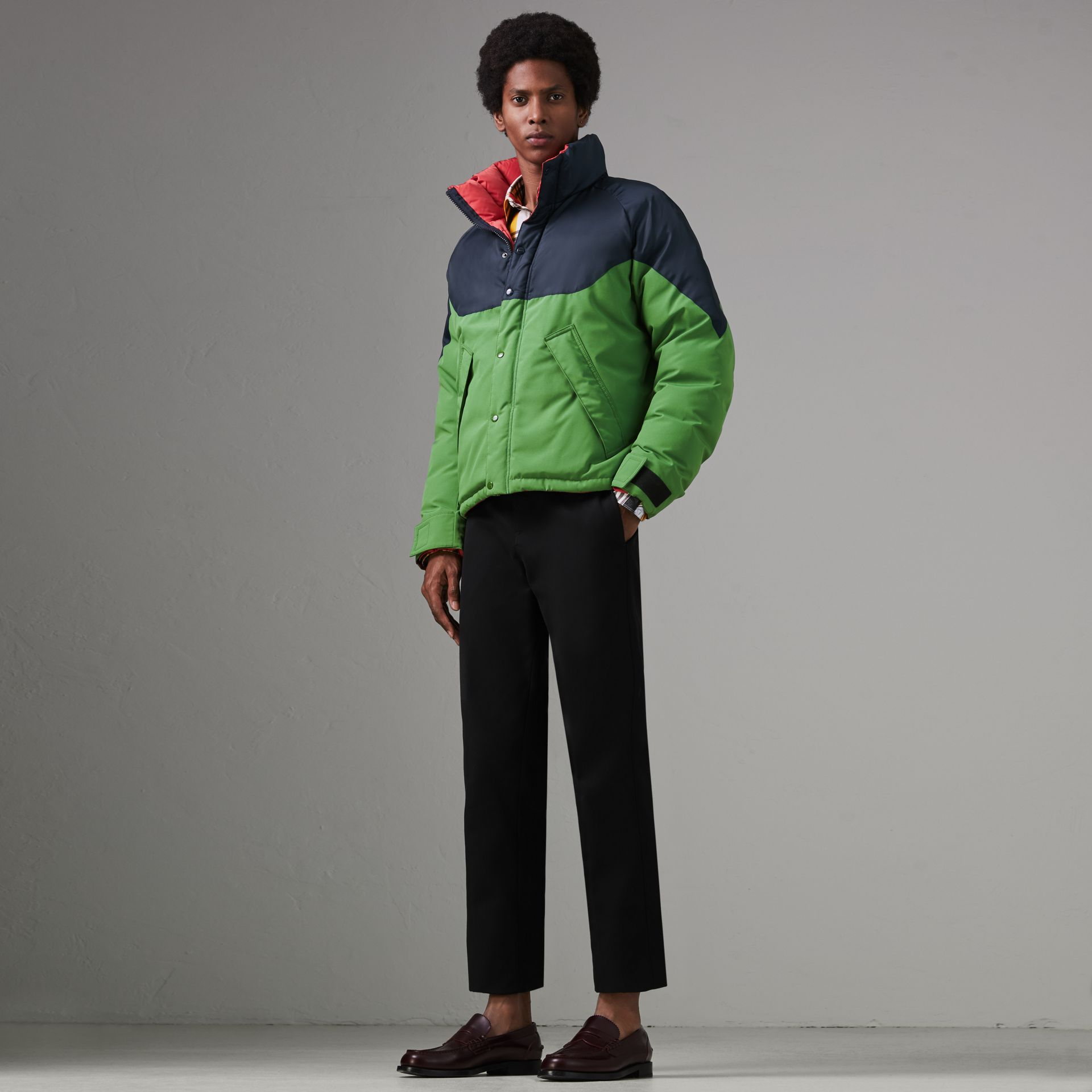 Tri-tone Down-filled Reversible Jacket in Bright Grass Green - Men | Burberry Australia - gallery image 0
