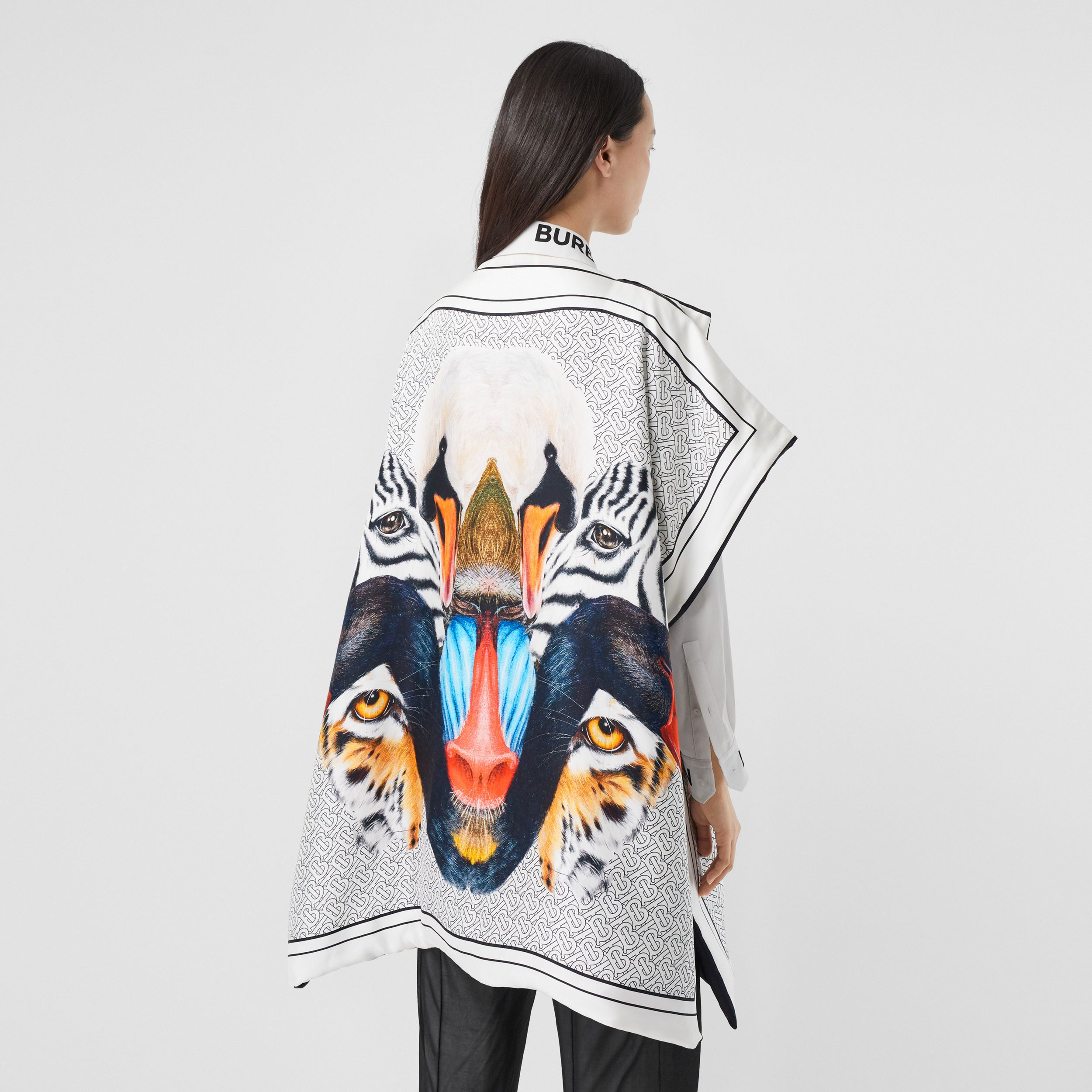 Animalia Print Silk Twill Cape in Multicolour - Women | Burberry - 3