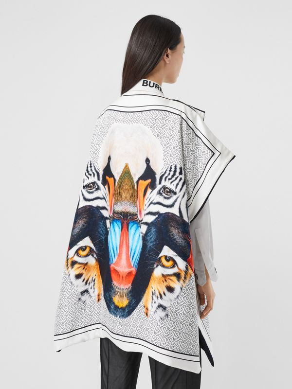 Animalia Print Silk Twill Cape in Multicolour - Women | Burberry United Kingdom - cell image 2