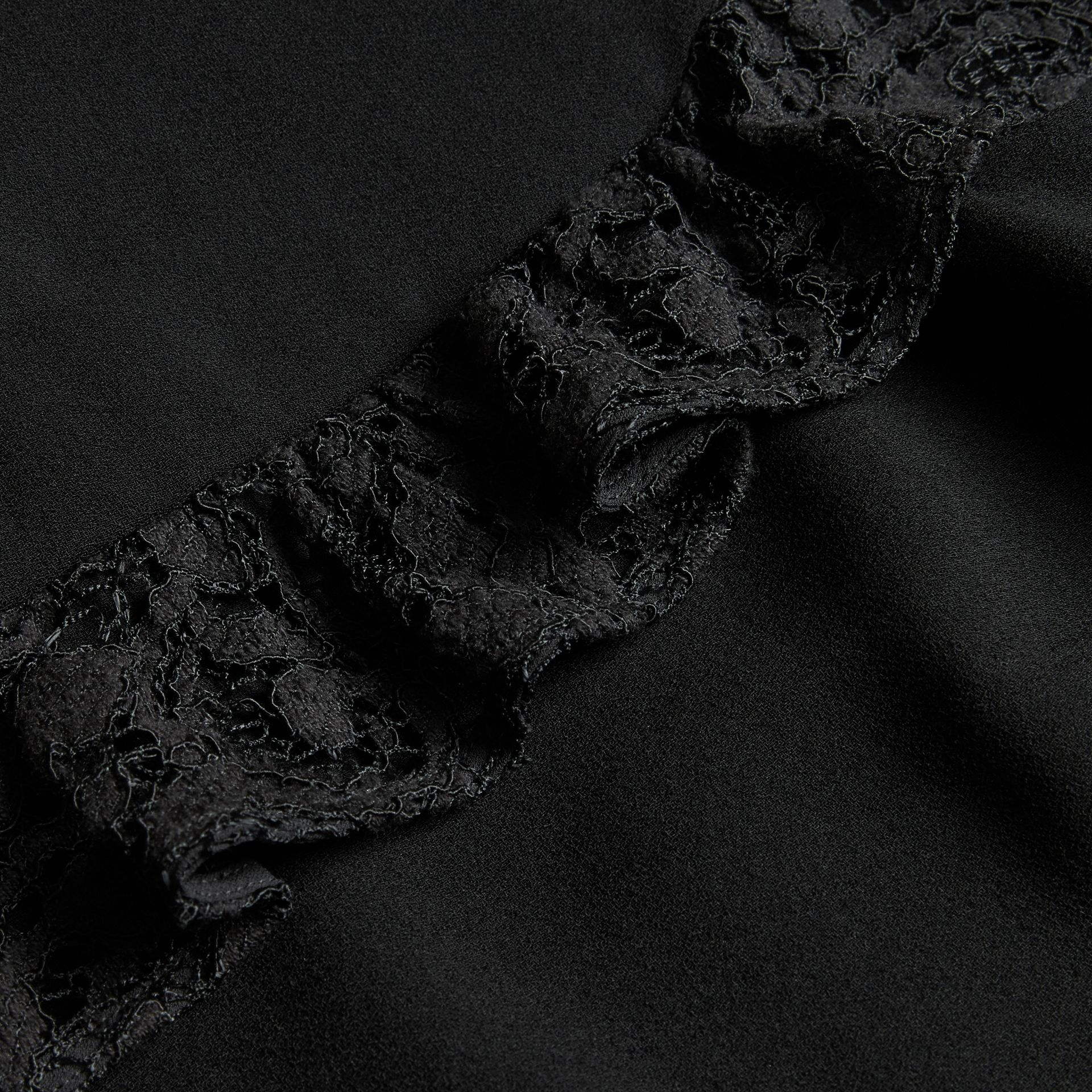 Black Shift Dress with Lace Ruffle - gallery image 2