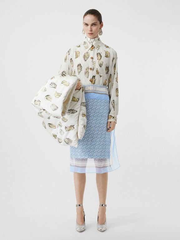 Scarf Detail Monogram Print Silk Pencil Skirt in Baby Blue - Women | Burberry - cell image 1