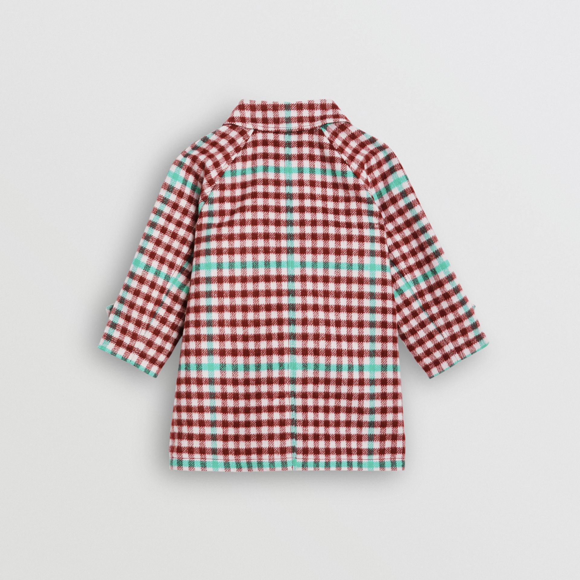 Check Wool Car Coat in Garnet Pink - Children | Burberry - gallery image 3