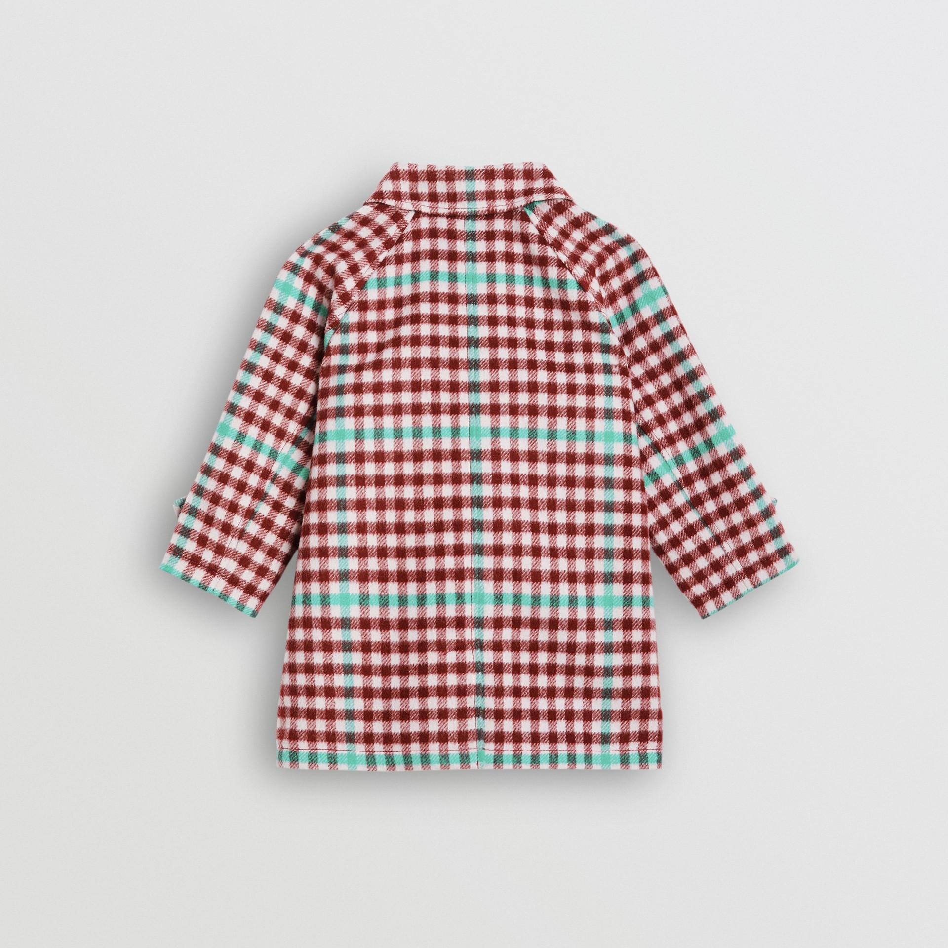 Check Wool Car Coat in Garnet Pink - Children | Burberry United Kingdom - gallery image 3
