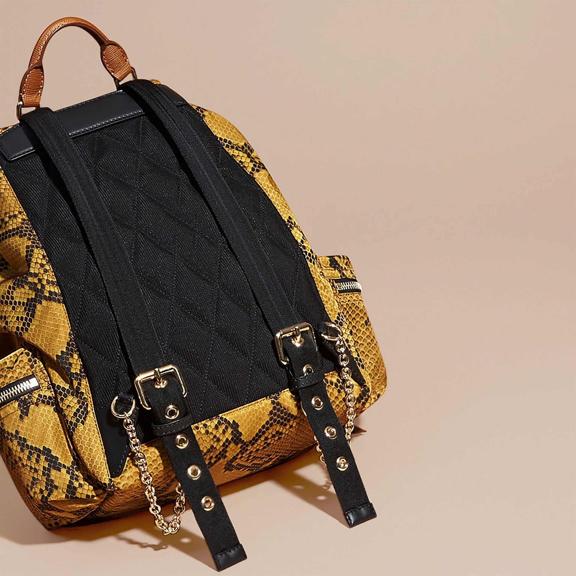 The Large Rucksack in Python Print Nylon and Leather in Yellow - gallery image 4