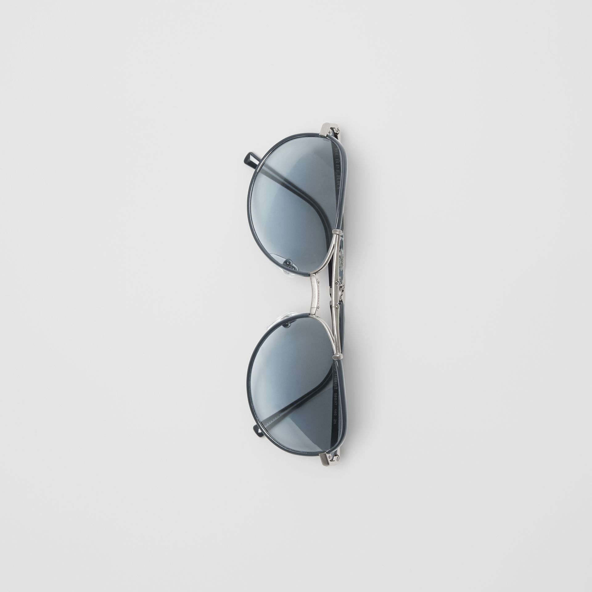 Folding Pilot Sunglasses in Navy - Men | Burberry - gallery image 3