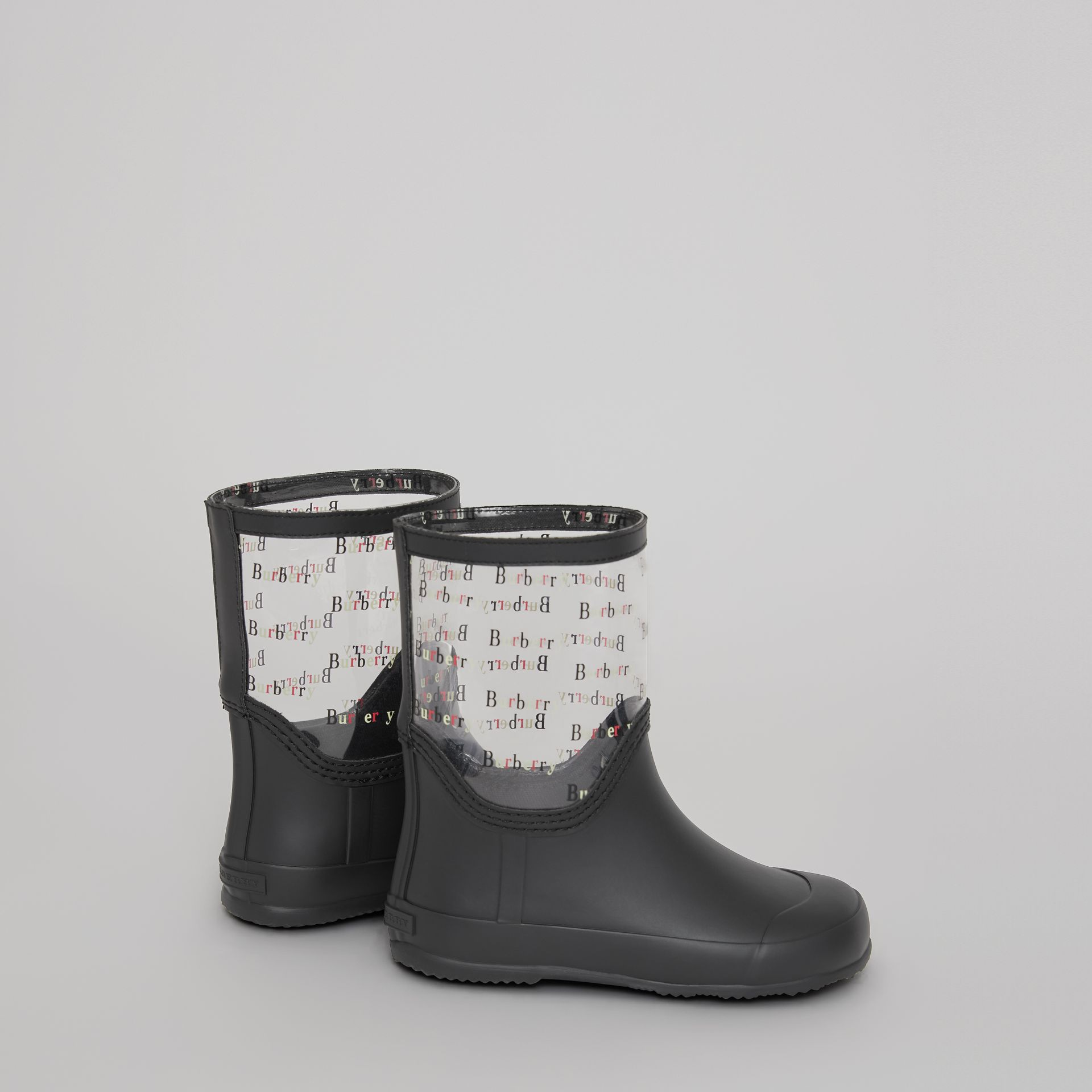 Logo Print Rubber Rain Boots in Black | Burberry Hong Kong - gallery image 2