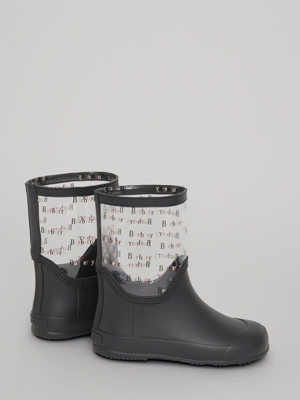Logo Print Rubber Rain Boots in Black | Burberry Australia - cell image 2