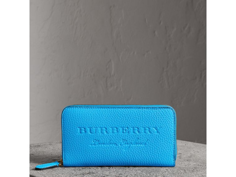 Embossed Leather Ziparound Wallet in Bright Blue - Women | Burberry - cell image 4