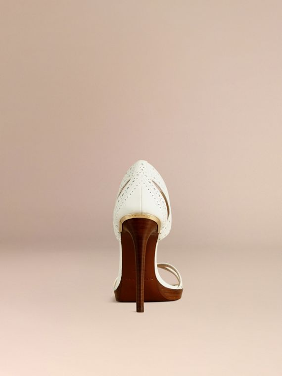 Optic white Perforated Detail Lace-up Leather Sandals - cell image 2