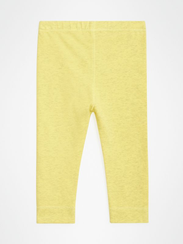Logo Print Stretch Jersey Leggings in Citrus Yellow - Children | Burberry Hong Kong - cell image 3