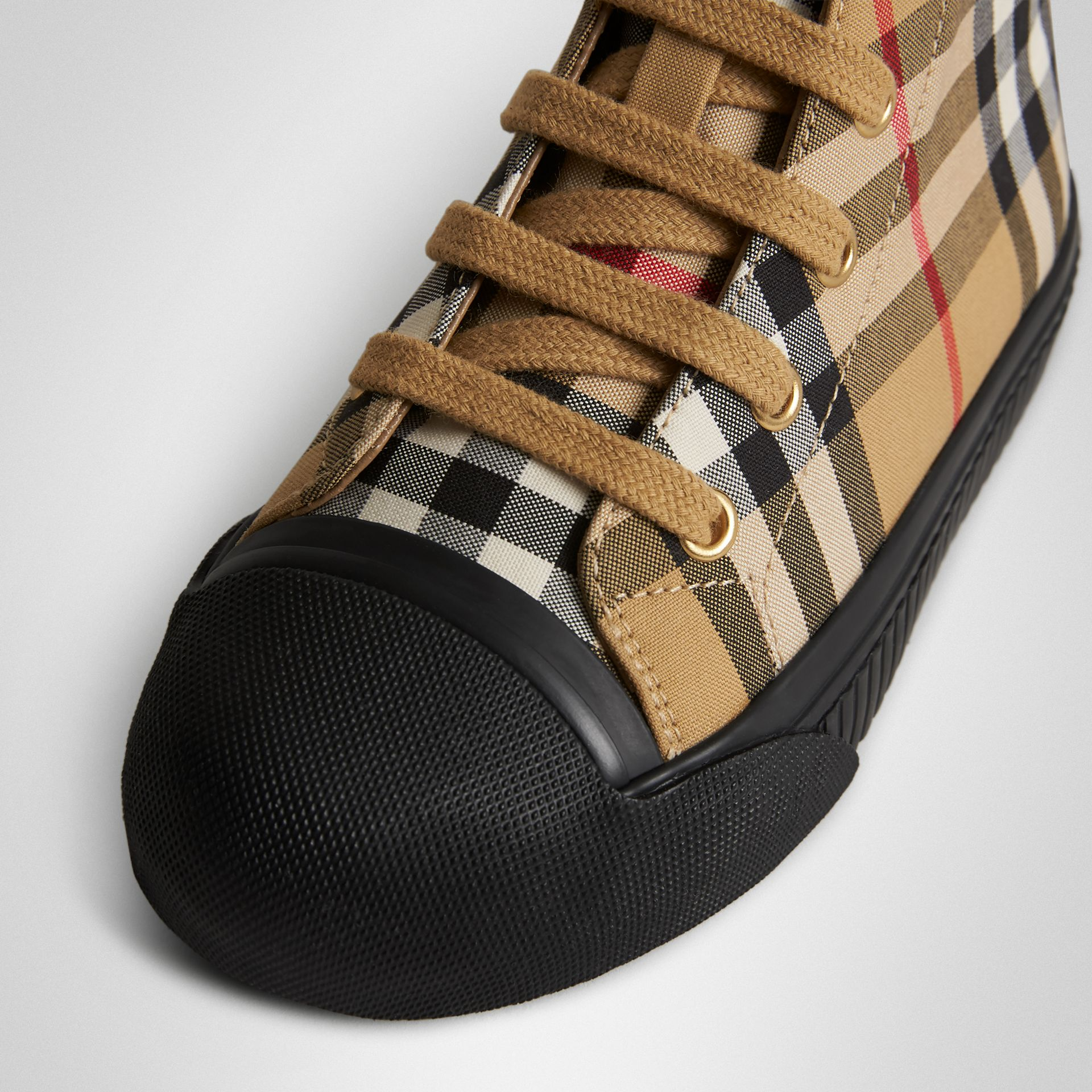 Vintage Check and Leather High-top Sneakers in Antique Yellow/black | Burberry Hong Kong S.A.R - gallery image 1
