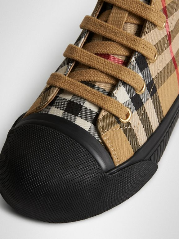 Vintage Check and Leather High-top Sneakers in Antique Yellow/black | Burberry United States - cell image 1