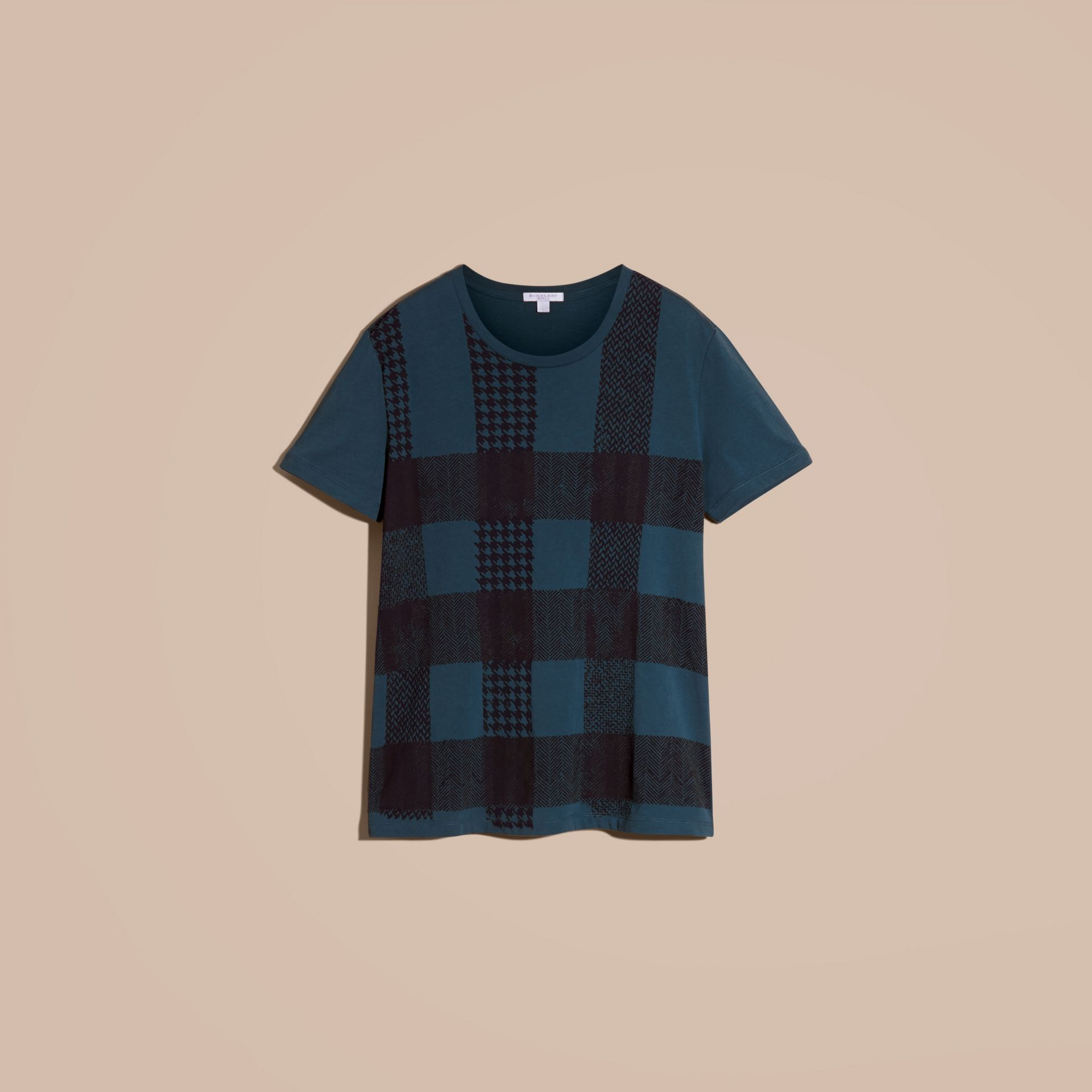 Mineral blue Textured Check Cotton T-Shirt Mineral Blue - gallery image 4