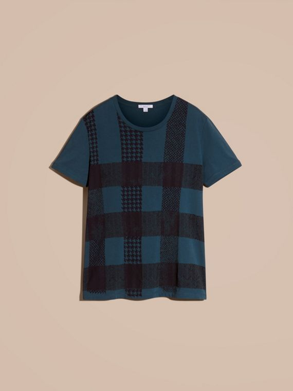 Mineral blue Textured Check Cotton T-Shirt Mineral Blue - cell image 3
