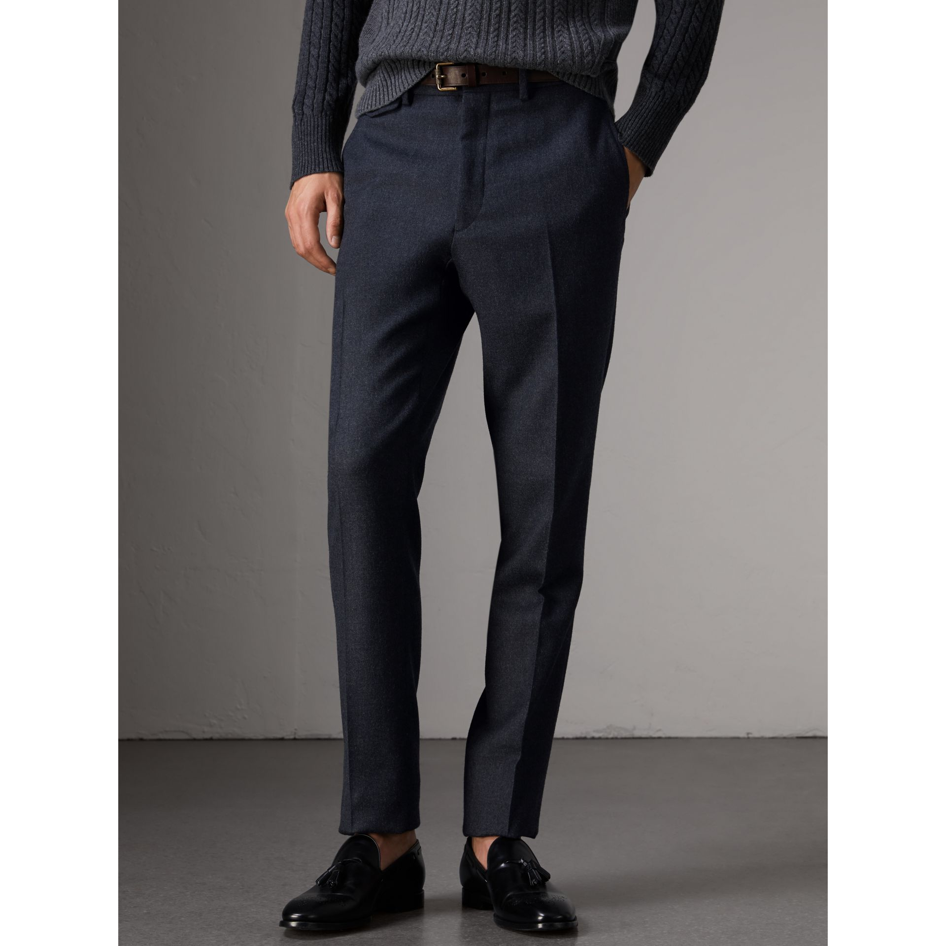 Wool Tailored Trousers in Navy - Men | Burberry - gallery image 4