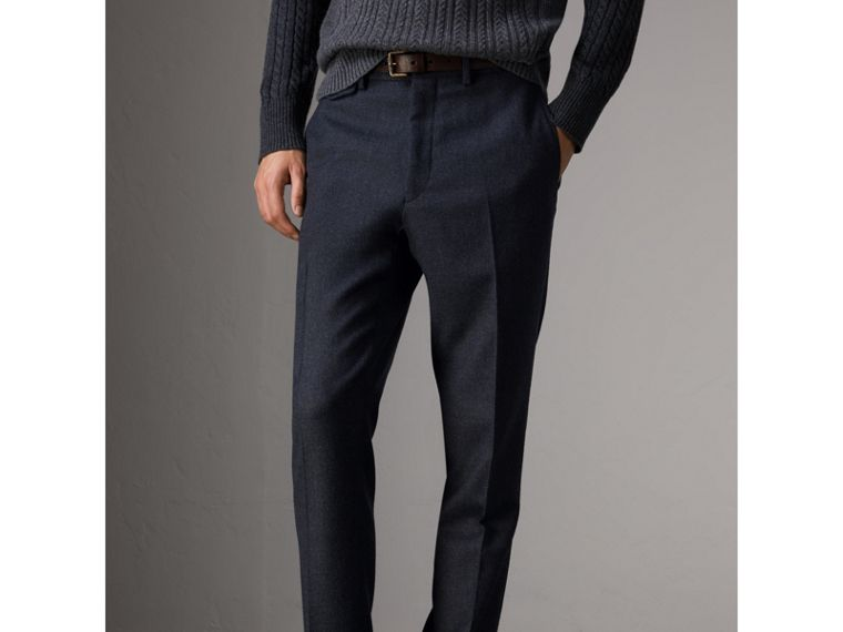 Wool Tailored Trousers in Navy - Men | Burberry - cell image 4