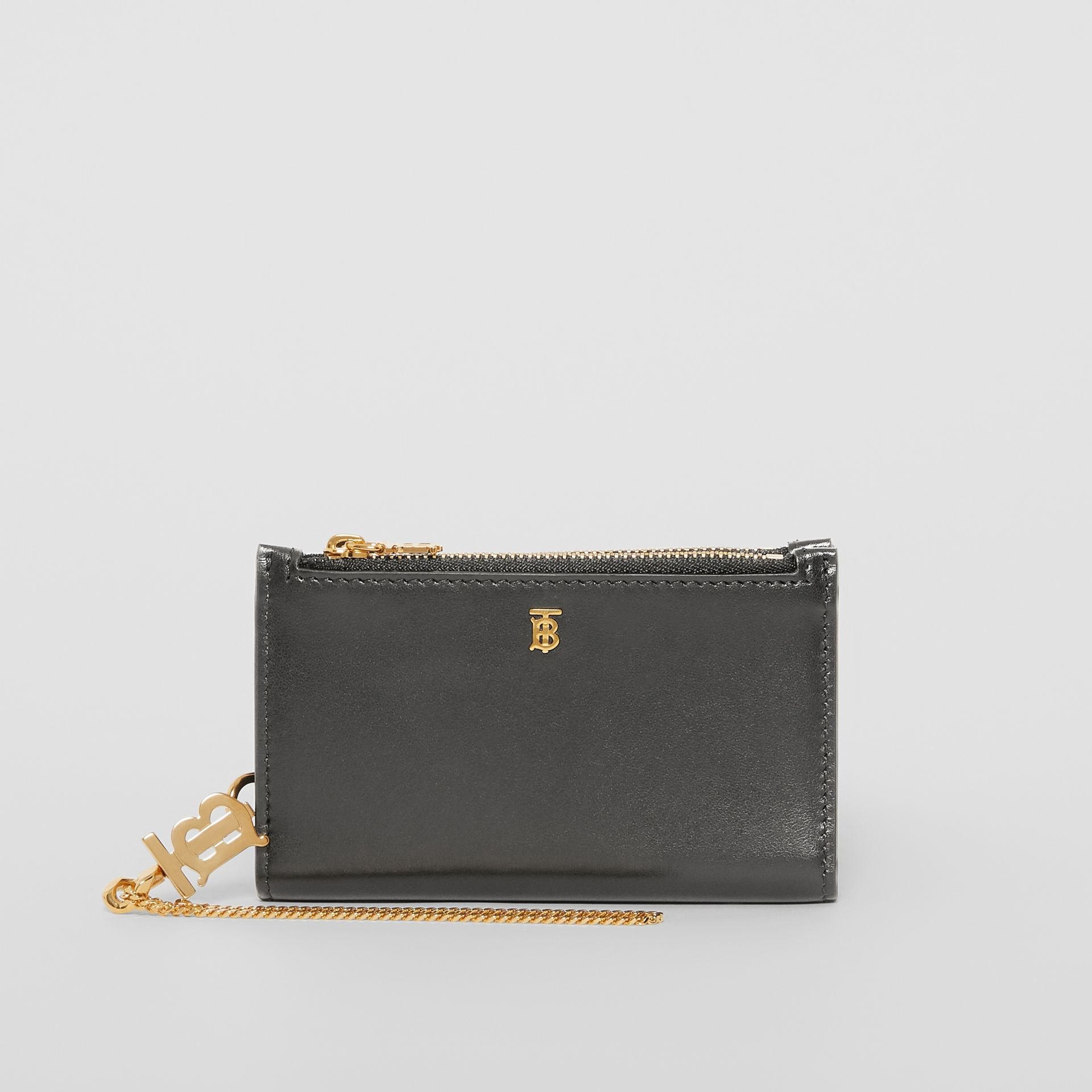 Monogram Motif Leather Wallet with Detachable Strap in Black - Women | Burberry - gallery image 5