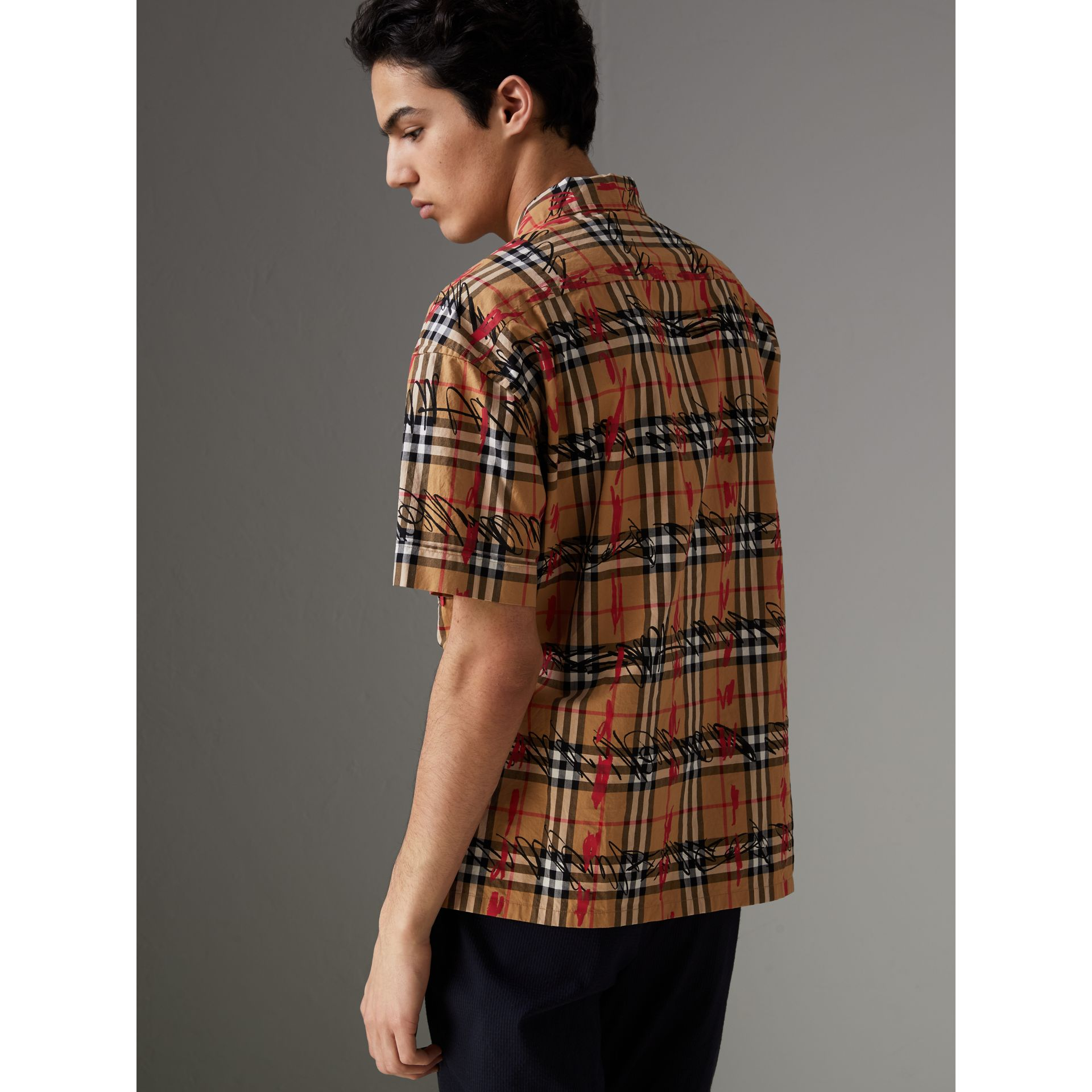 Short-sleeve Scribble Check Cotton Shirt in Antique Yellow - Men | Burberry United Kingdom - gallery image 2