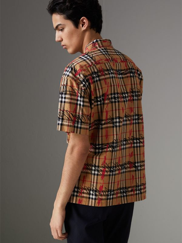 Short-sleeve Scribble Check Cotton Shirt in Antique Yellow - Men | Burberry United Kingdom - cell image 2