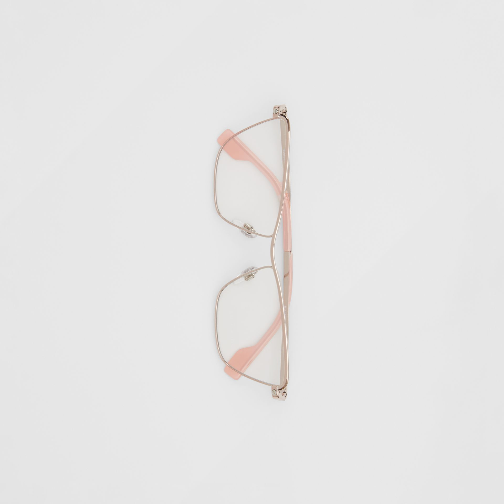 Rectangular Optical Frames in Rose Gold - Women | Burberry - gallery image 2