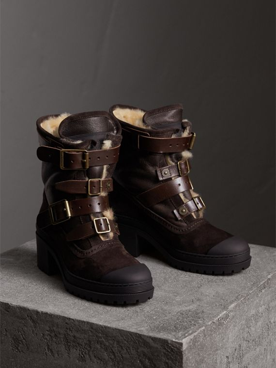 Buckle Detail Suede and Shearling Boots in Charcoal Brown - Women | Burberry - cell image 3