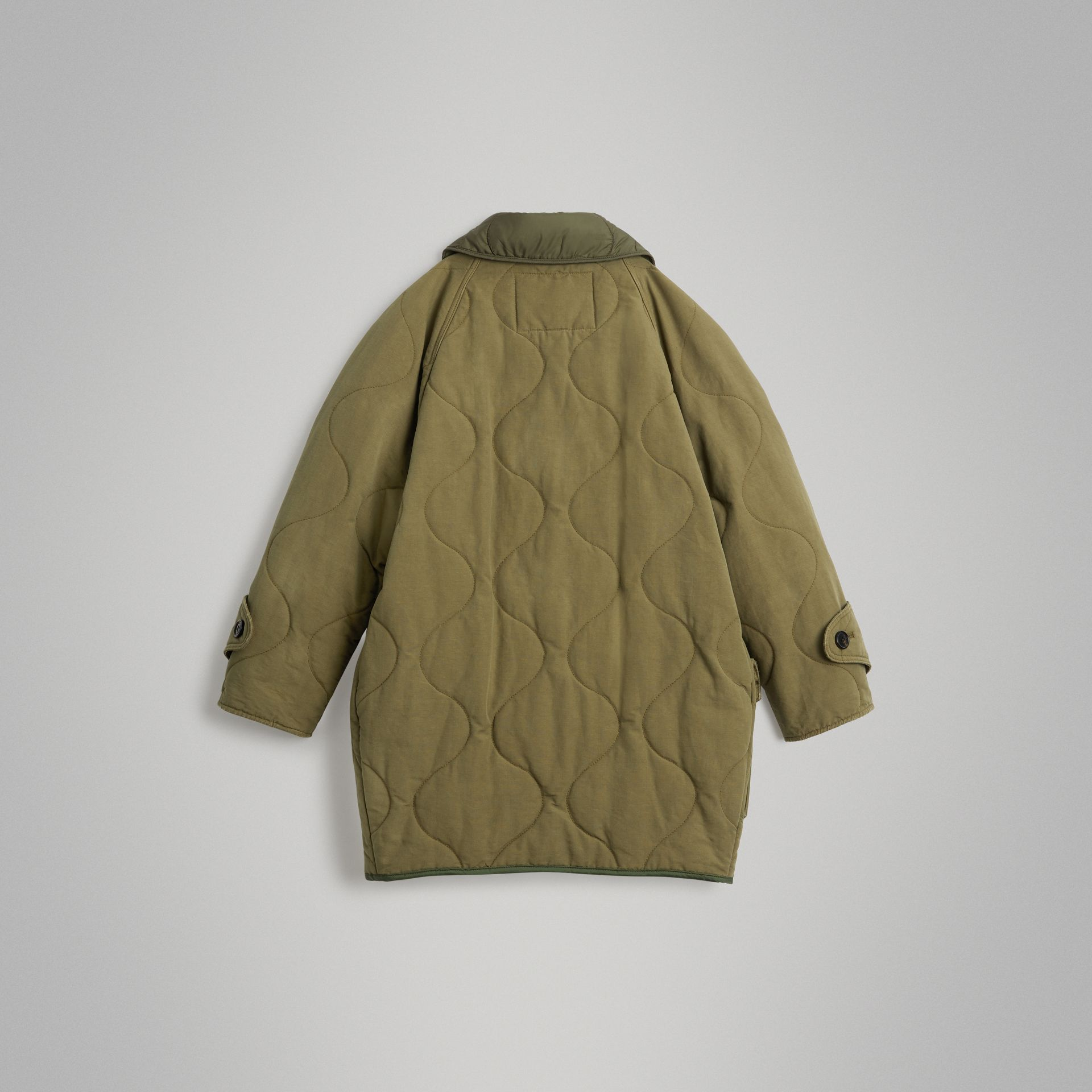 Military Quilted Cotton Coat in Dark Green | Burberry Singapore - gallery image 3
