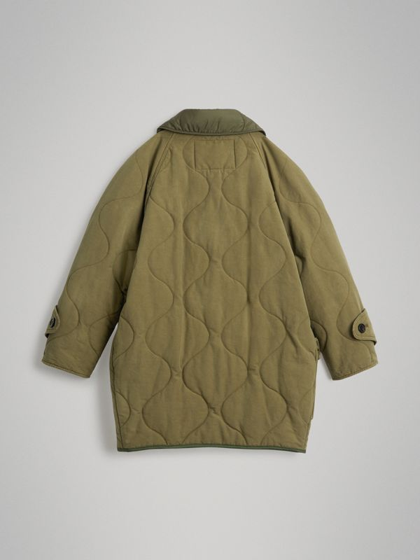 Military Quilted Cotton Coat in Dark Green | Burberry Singapore - cell image 3