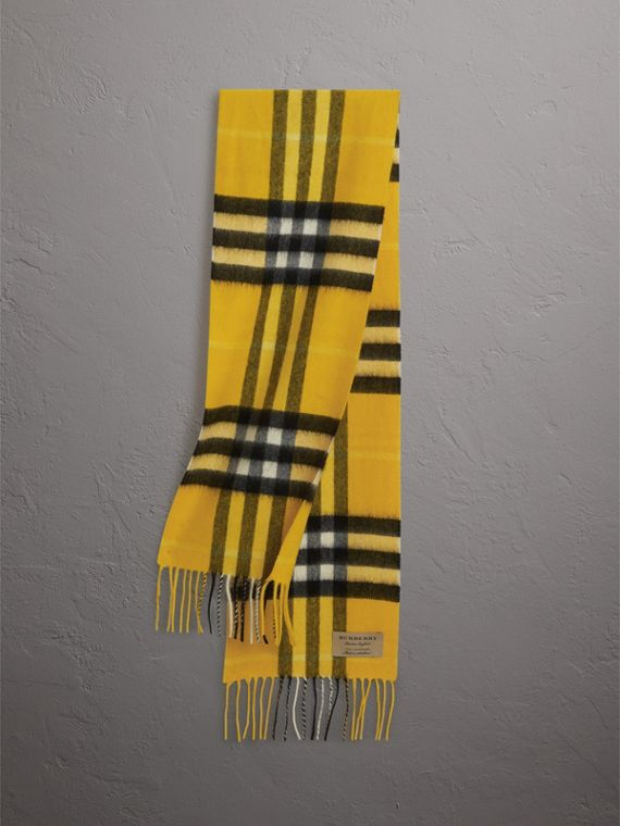 The Mini Classic Check Cashmere Scarf in Gorse Yellow