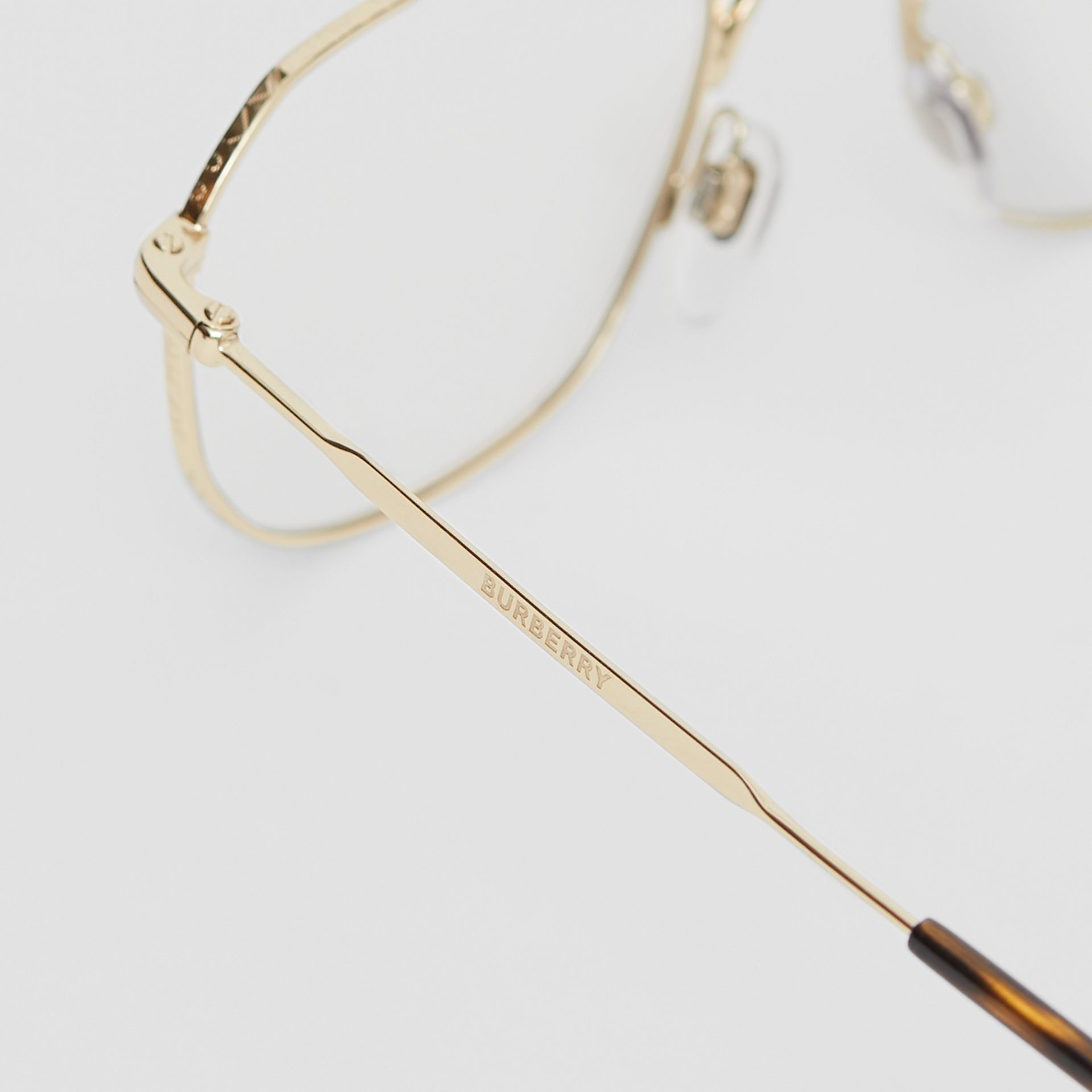 Gold-plated Square Optical Frames in Light - Men | Burberry - gallery image 1