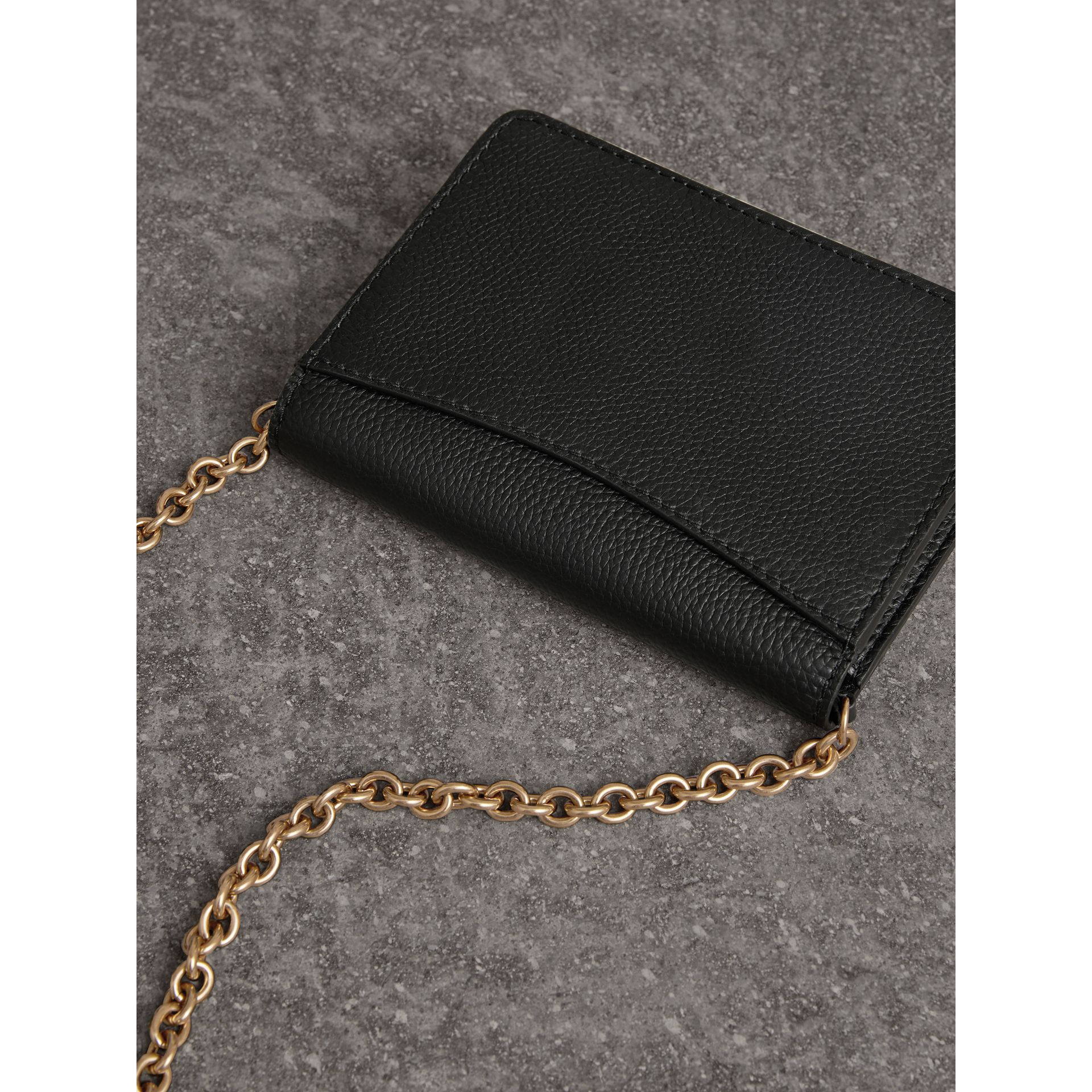 Embossed Leather Wallet with Detachable Strap in Black - Women | Burberry - gallery image 4
