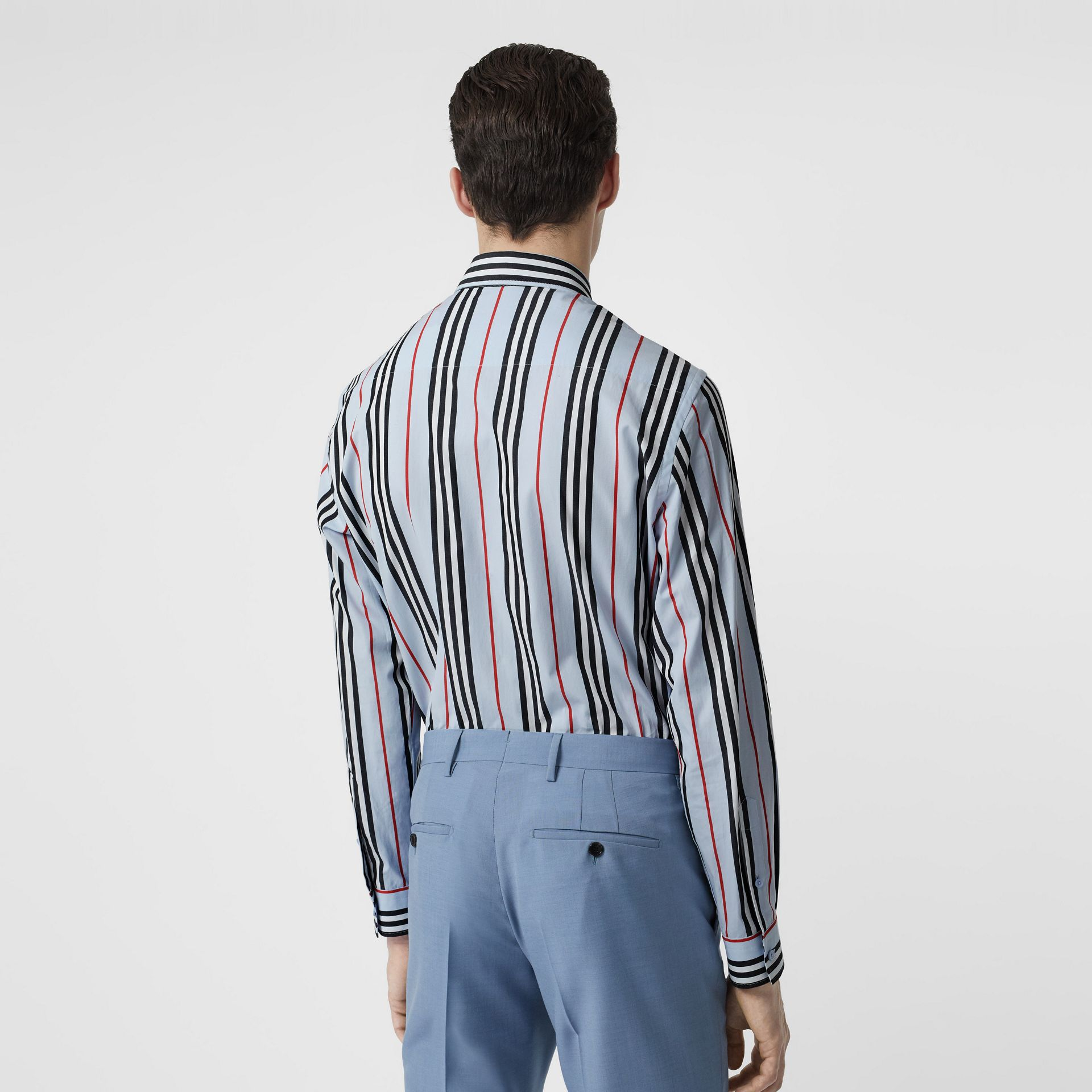 Icon Stripe Cotton Poplin Shirt in Pale Blue - Men | Burberry United States - gallery image 2
