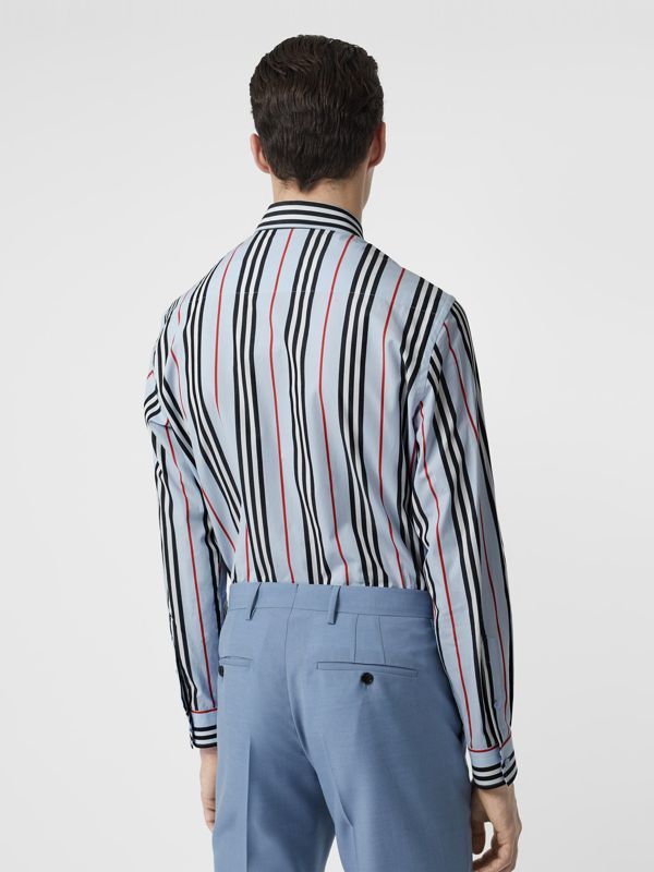 Icon Stripe Cotton Poplin Shirt in Pale Blue - Men | Burberry United States - cell image 2