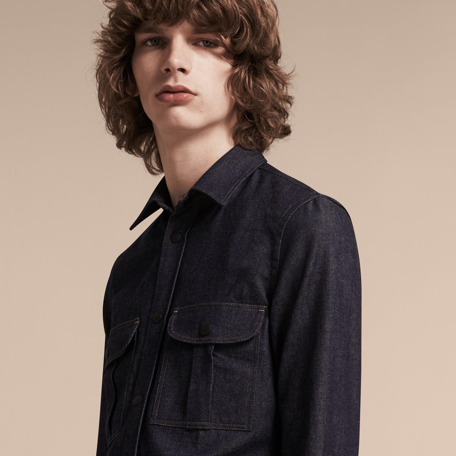 Indigo Slim Fit Japanese Denim Shirt - gallery image 5