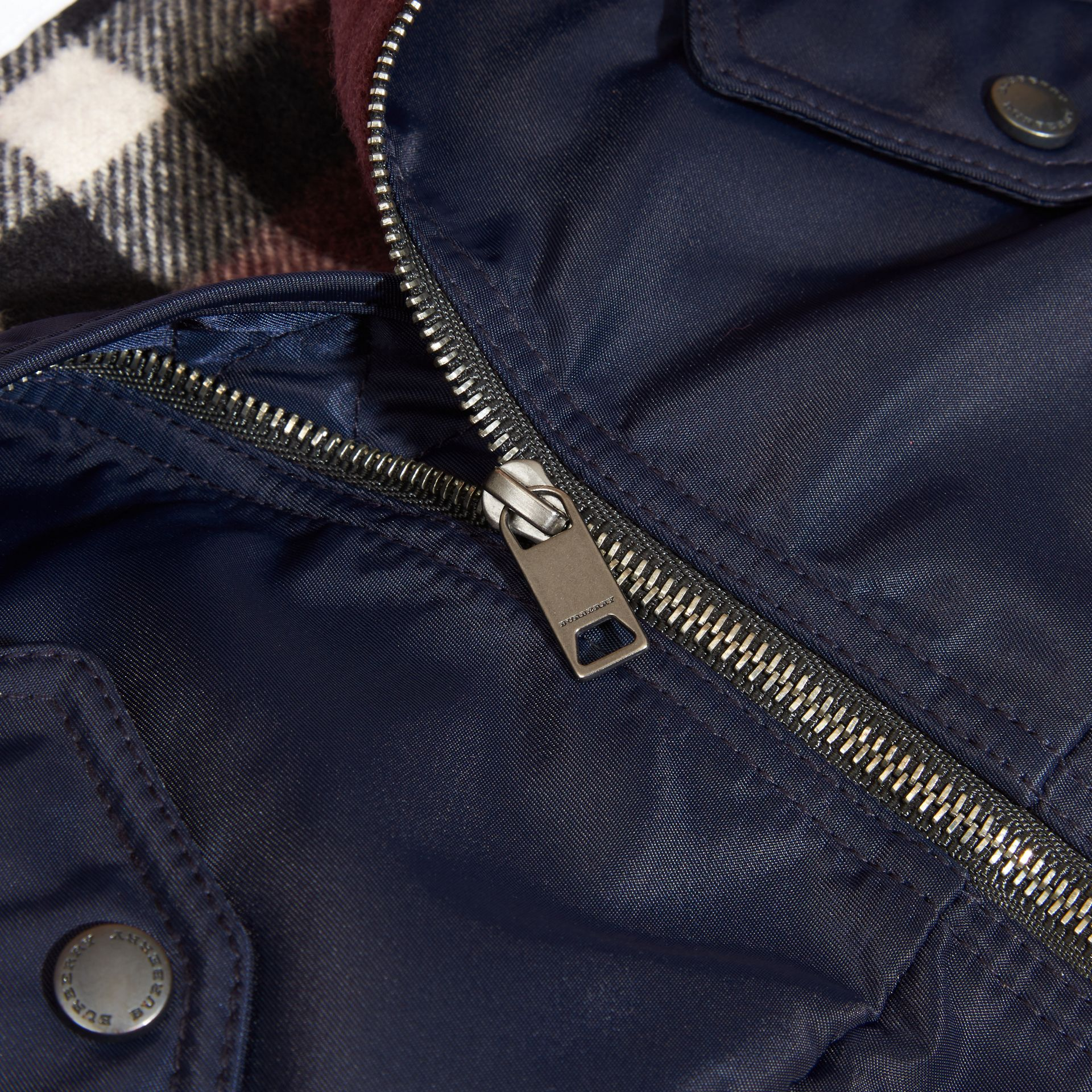 Navy Nylon and Check Wool Cashmere Bomber Jacket - gallery image 2