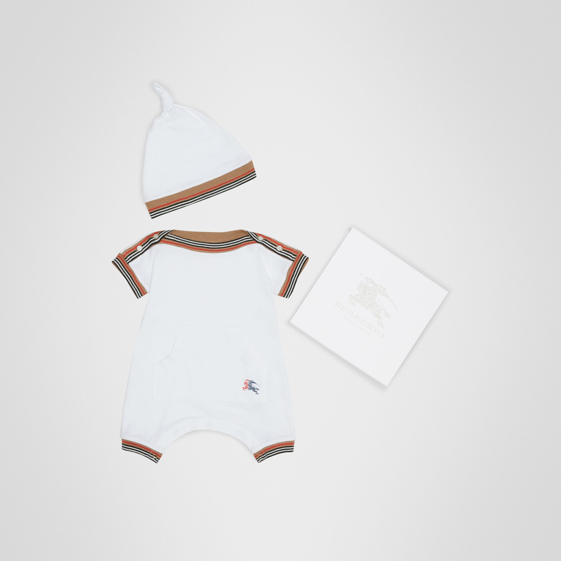 Icon Stripe Cotton Piqué Two-piece Baby Gift Set in White - Children | Burberry - gallery image 0
